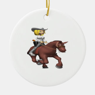 Cowgirl On Horse Ceramic Ornament