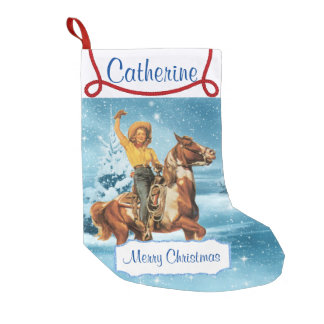 Cowgirl On Horse Winter Scene Small Christmas Stocking
