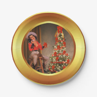 Cowgirl On Saddle With Christmas Tree Plates