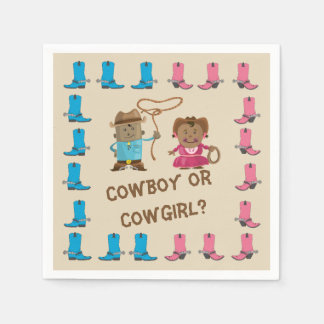 Cowgirl or Cowboy Gender Reveal Napkin Disposable Napkins