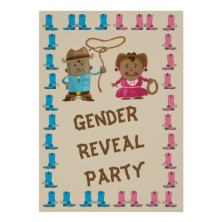 Cowgirl or Cowboy Gender Reveal Party Poster