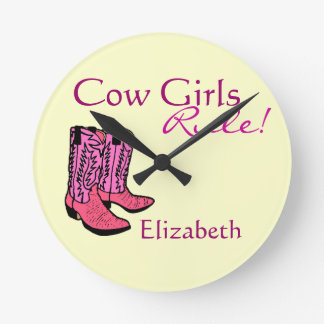 Cowgirl Pink Boots Clocks