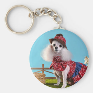 Cowgirl Poodle Keychain