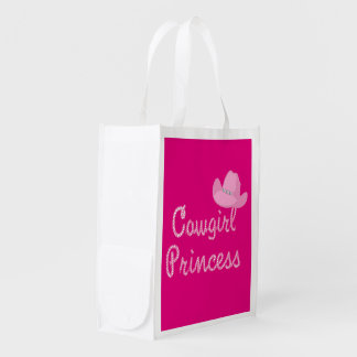 Cowgirl Princess And Pink Cowboy Hats Western Reusable Grocery Bag