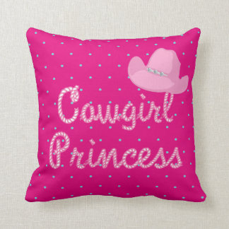 Cowgirl Princess Rope Text With Pink Cowgirl Hat Throw Pillow