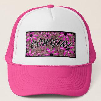 Cowgirl Purple Pink Shine Flowers Trucker Hat