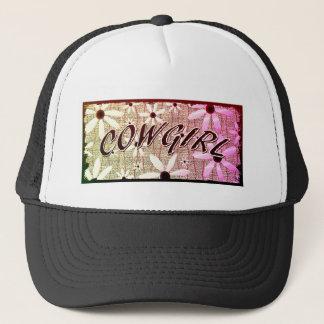 Cowgirl Purple Yellow Pink  Flowers Trucker Hat