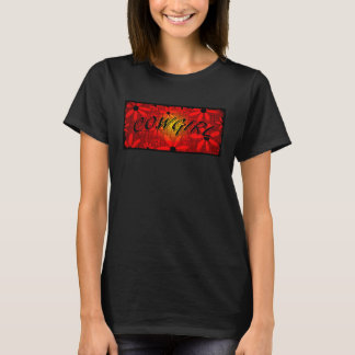 Cowgirl Red Sunburst Flowers Curved Text T-Shirt