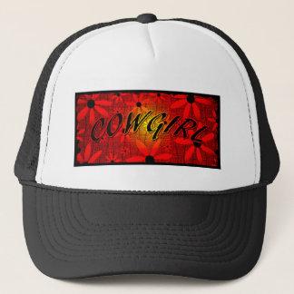 Cowgirl Red Sunburst Flowers Trucker Hat