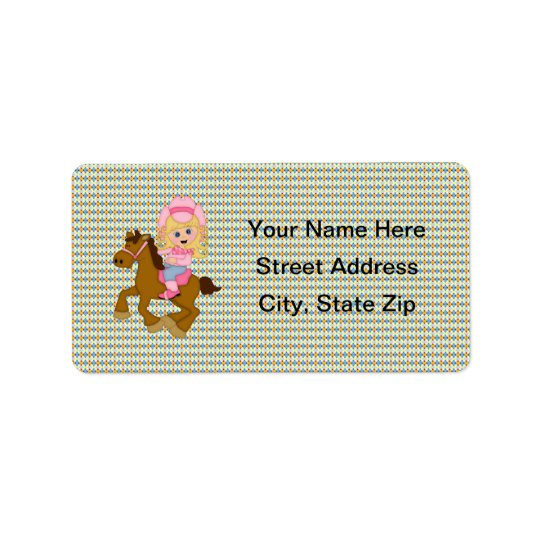 Cowgirl Riding Horse (pink) Label