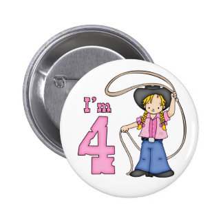Cowgirl Roper 4th Birthday Pinback Buttons