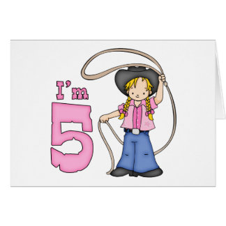 Cowgirl Roper 5th Birthday Invitation Cards