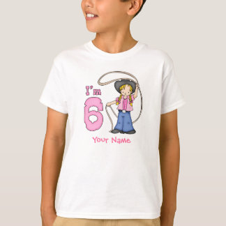 Cowgirl Roper 6th Birthday Personalized T-Shirt