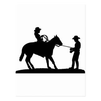 Cowgirl Roping Cowboy Postcard
