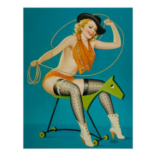 Cowgirl Roping the Horse Pin Up Poster