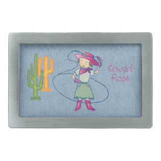 Cowgirl Rose Rodeo Champ Lasso T with Cactus Rect. Rectangular Belt Buckle
