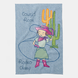 Cowgirl Rose Rodeo Champ Lasso Tricks Kitchen Towel