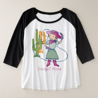 Cowgirl Rose Rodeo Champ Lasso Tricks Plus Size Raglan T-Shirt