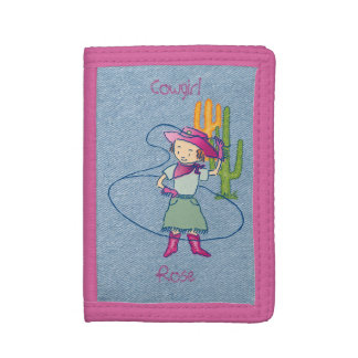 Cowgirl Rose Rodeo Champ Lasso Tricks Trifold Wallets