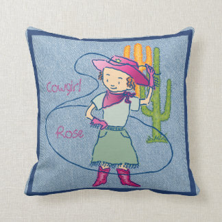 Cowgirl Rose Rodeo Champ Throw Pillow