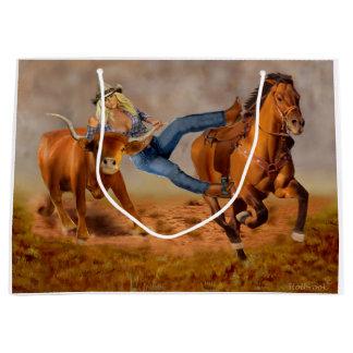 Cowgirl Steer Wrestling Large Gift Bag