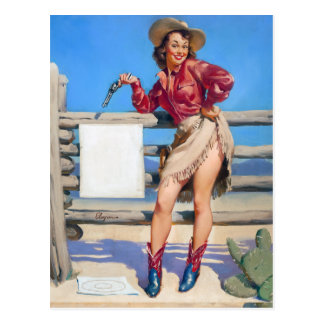 Cowgirl Target Practice Pin Up Postcard