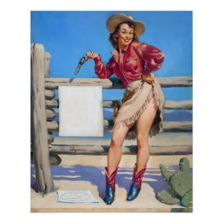 Cowgirl Target Practice Pin Up Poster