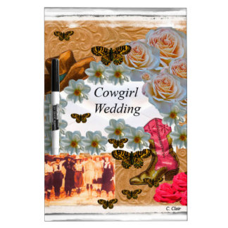 Cowgirl Wedding Western Boot Hat Flowers Dry-Erase Whiteboards