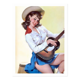 Cowgirl with Guitar Pin Up Postcard