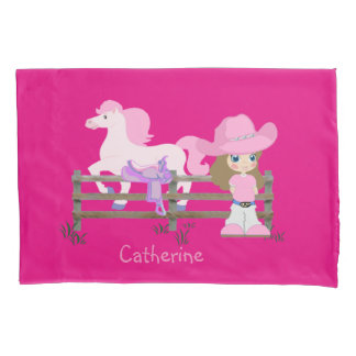 Cowgirl with Pink Hat Horse And Saddle Case Pillowcase