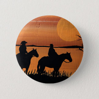 Cowgirls and horses 2 inch round button