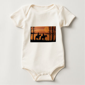 Cowgirls and horses baby bodysuit