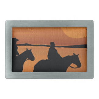 Cowgirls and horses belt buckle