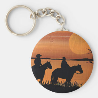 Cowgirls and horses keychain