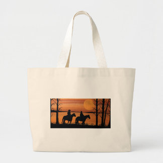 Cowgirls and horses large tote bag