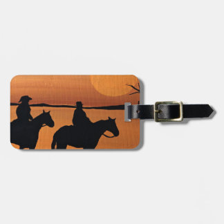 Cowgirls and horses luggage tag