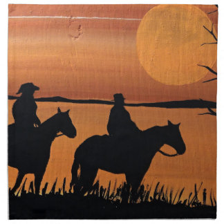 Cowgirls and horses napkin