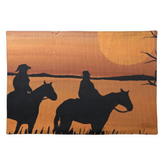 Cowgirls and horses placemat