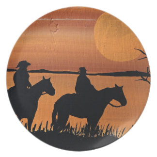 Cowgirls and horses plate