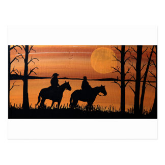 Cowgirls and horses postcard