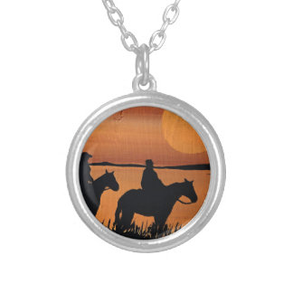 Cowgirls and horses silver plated necklace