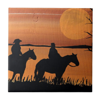 Cowgirls and horses tile