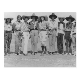 Cowgirls at Cheyenne Frontier Days, 1929. Postcard