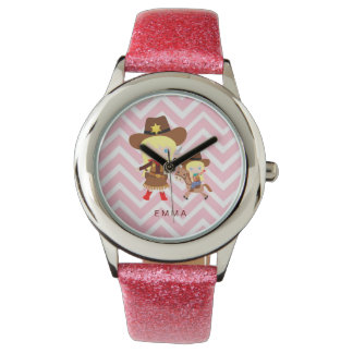 Cowgirls Sheriff Officer Horse on Chevron Wrist Watches