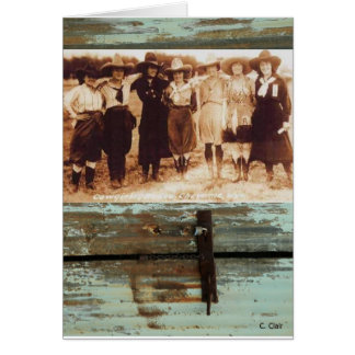 Cowgirls Vintage Photograph Rusty Metal Card