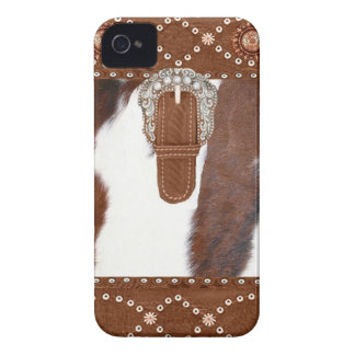 Cowhide and Leather Western IPhone 4 Case