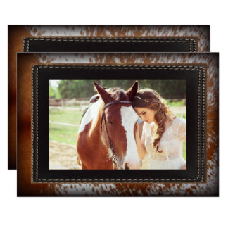 Cowhide Country Western  Cowboy bridal shower Card