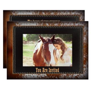 cowhide Cowboy Country western Wedding Invitation