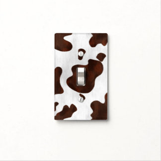 Cowhide Faux Hair Western Leather Spotted Pattern Light Switch Cover