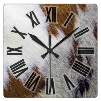Cowhide Square Wall Clock